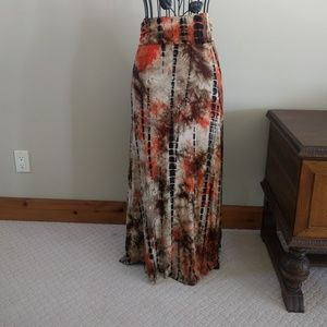 Tie dye maxi dress fold waist rayon blend browns